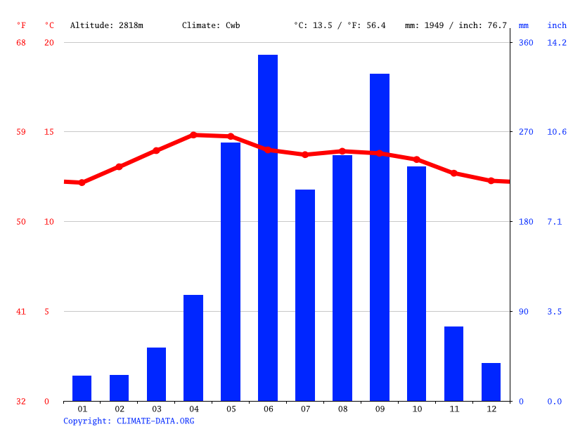 Climate graph // Weather by Month, San Carlos Sija