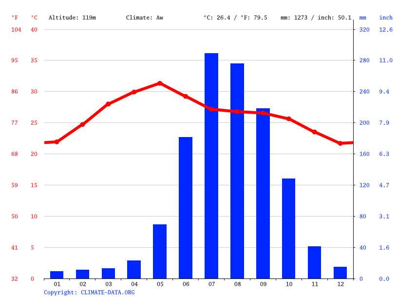 Climate graph // Weather by Month, Parvatipuram