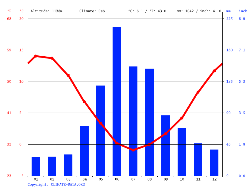 Climate graph // Weather by Month, Pehuenco