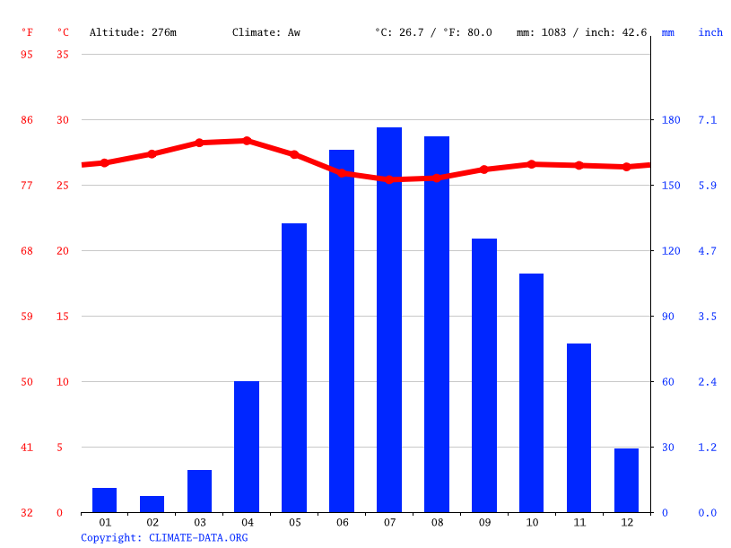 Climate graph // Weather by Month, Pariaguán