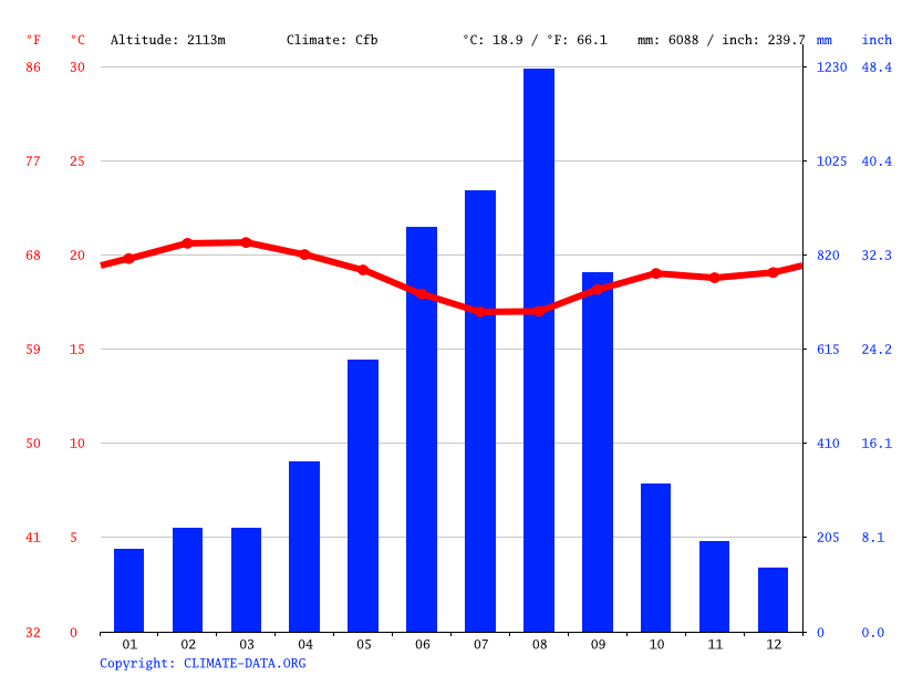 Climate graph // Weather by Month, Chesoi