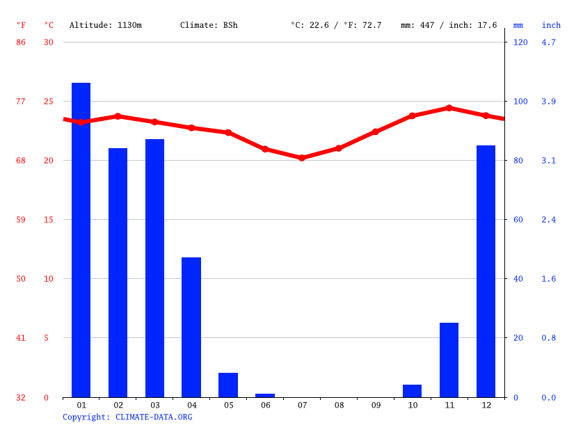 Climate graph // Weather by Month, Dodoma