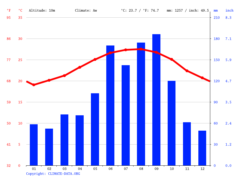 Climate graph // Weather by Month, Mangonia Park