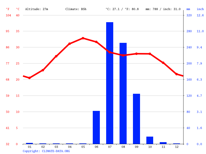 Climate graph // Weather by Month, Kheda