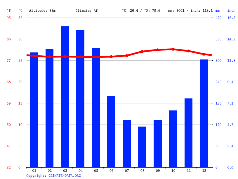 Climate graph // Weather by Month, Manaus