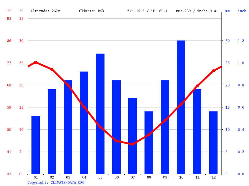 Climate graph // Weather by Month, Neuquén