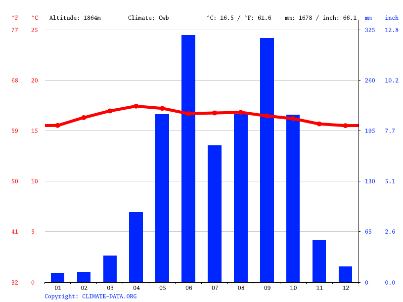 Climate graph // Weather by Month, San Antonio Palopo