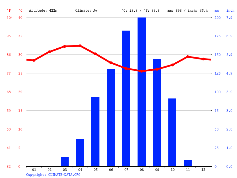 Climate graph // Weather by Month, Aweil