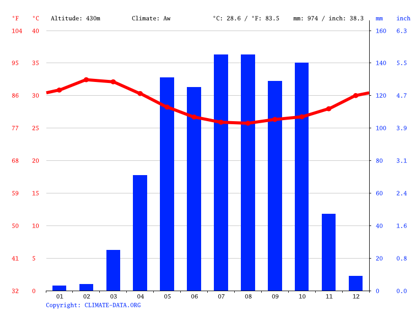 Climate graph // Weather by Month, Bor