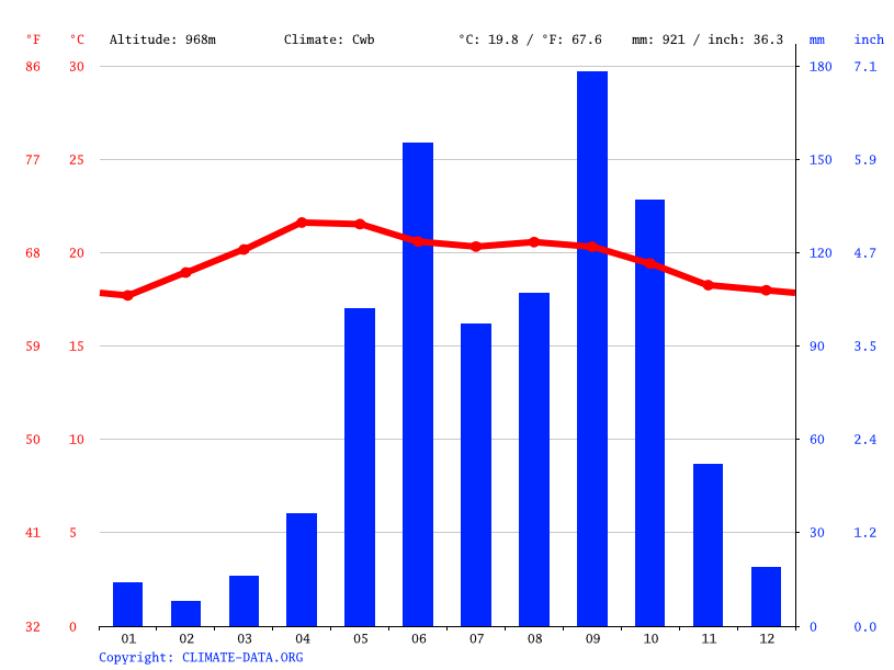 Climate graph // Weather by Month, Rabinal