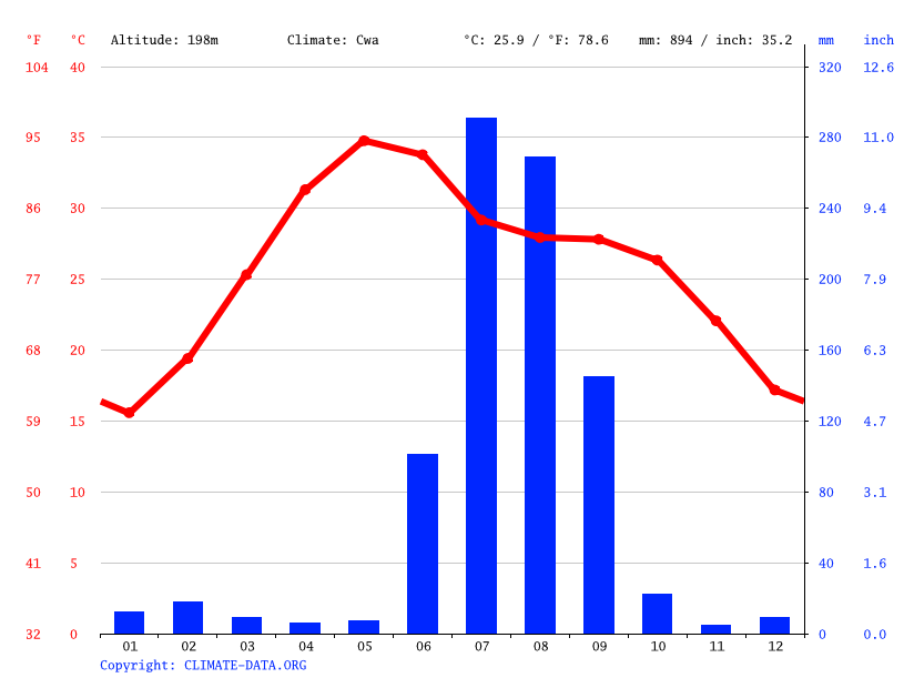 Climate graph // Weather by Month, Chirgaon