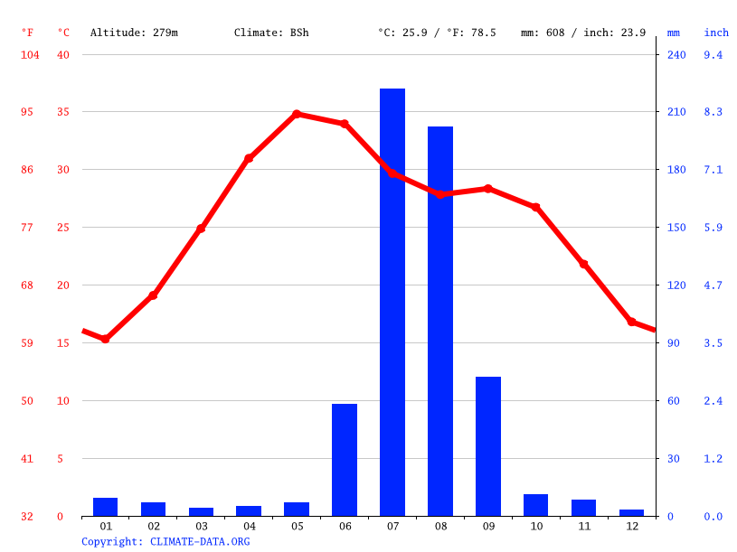 Climate graph // Weather by Month, Tonk