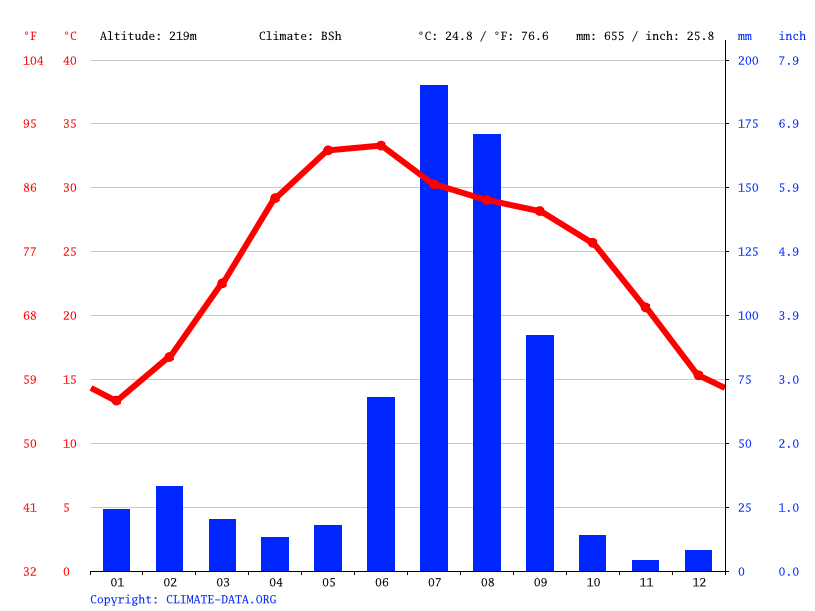 Climate graph // Weather by Month, Bahadurgarh