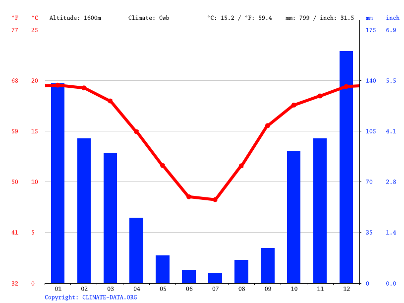 Climate graph // Weather by Month, Tweeling