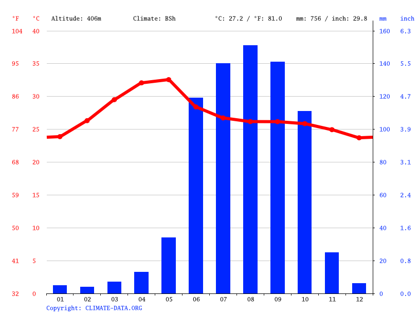 Climate graph // Weather by Month, Raichur