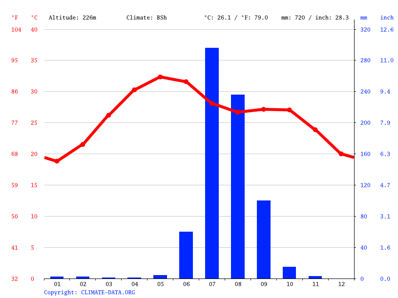 Climate graph // Weather by Month, Palanpur
