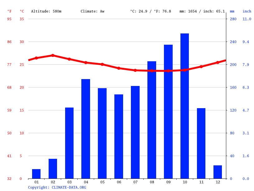 Climate graph // Weather by Month, Berbérati
