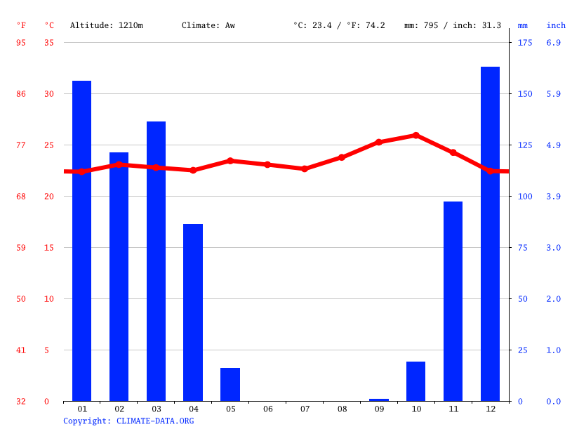 Climate graph // Weather by Month, Tabora
