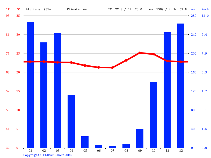 Climate graph // Weather by Month, Bonfinópolis