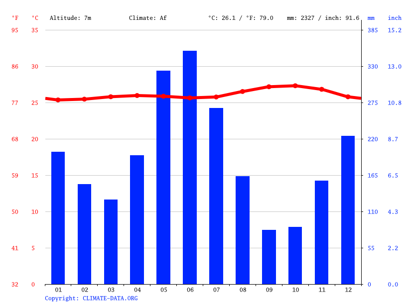 Climate graph // Weather by Month, Corriverton