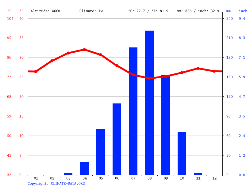 Climate graph // Weather by Month, Birao