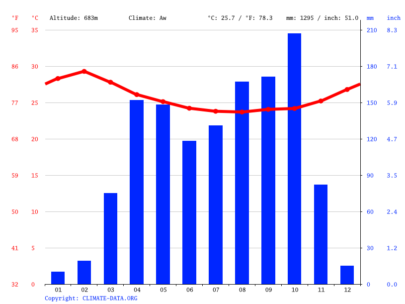 Climate graph // Weather by Month, Bambouti