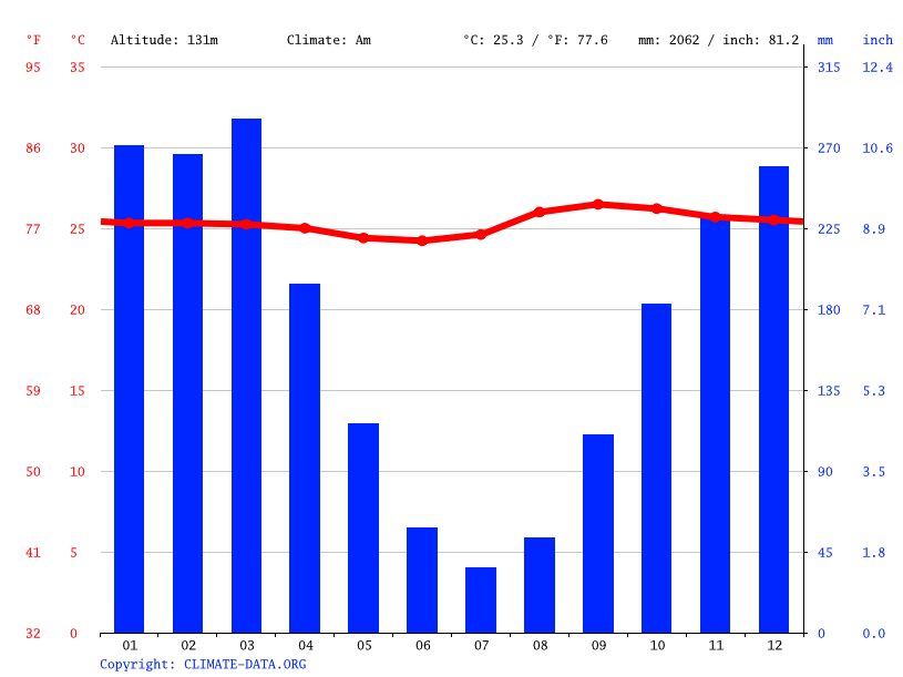 Climate graph // Weather by Month, Sena Madureira