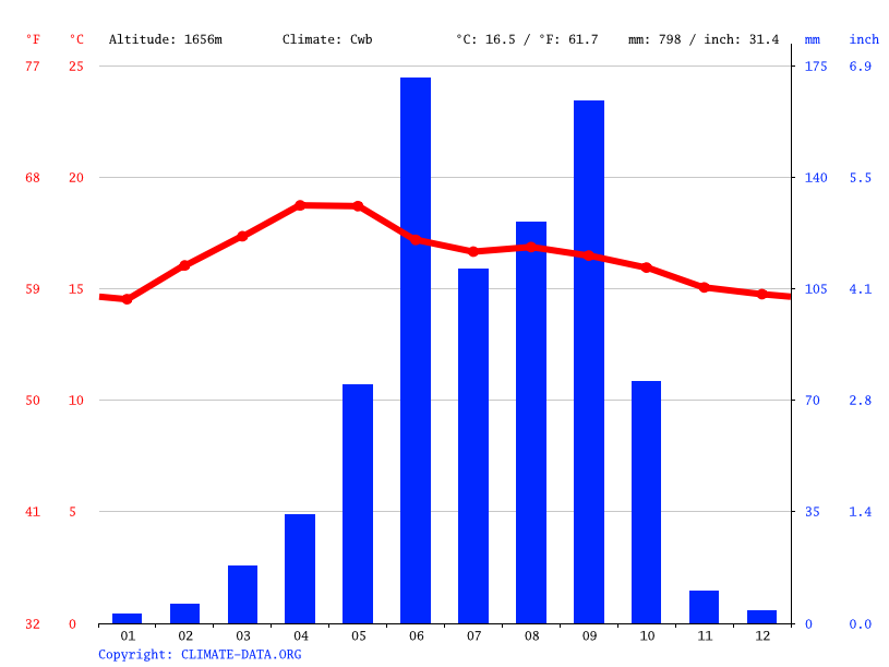 Climate graph // Weather by Month, San Felipe Tejalápam