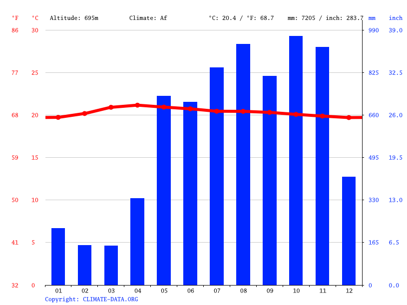 Climate graph // Weather by Month, San Isidro de El General