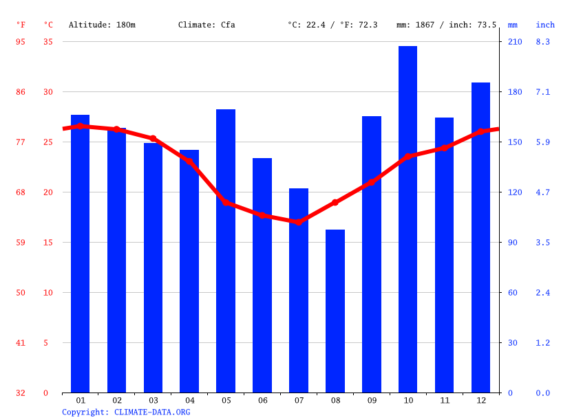 Climate graph // Weather by Month, Ciudad del Este