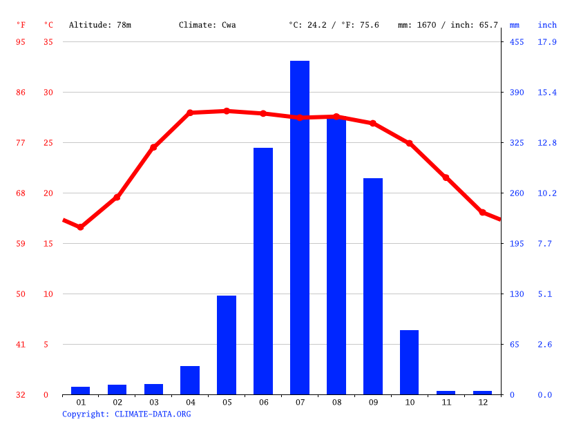 Climate graph // Weather by Month, Biratnagar