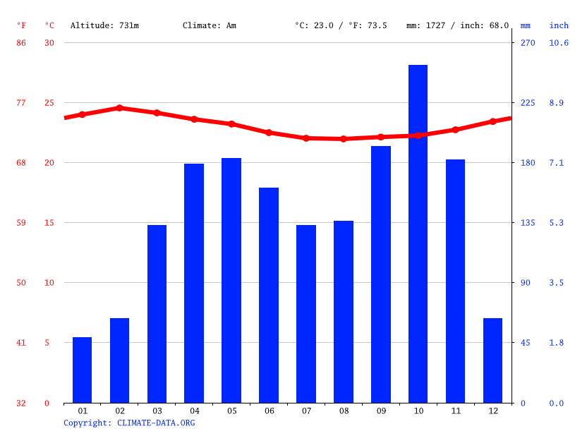 Climate graph // Weather by Month, Yaounde