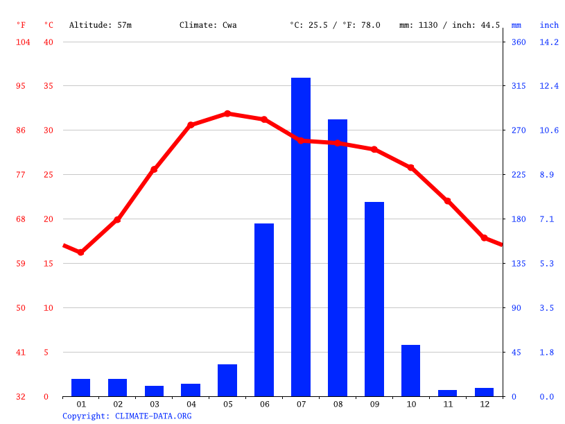 Climate graph // Weather by Month, Patna