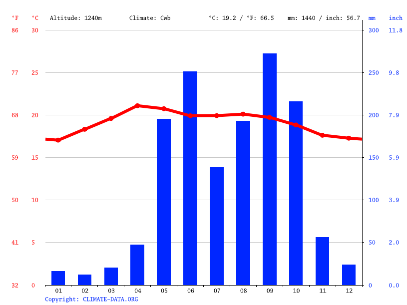 Climate graph // Weather by Month, San Pedro de Tutule