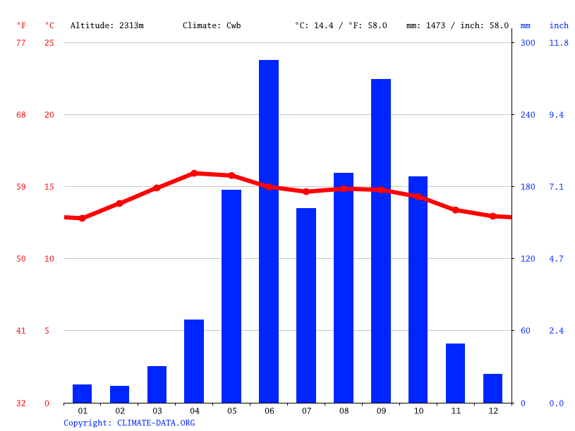 Climate graph // Weather by Month, Patzité