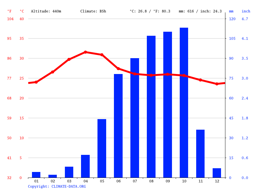 Climate graph // Weather by Month, Ballari