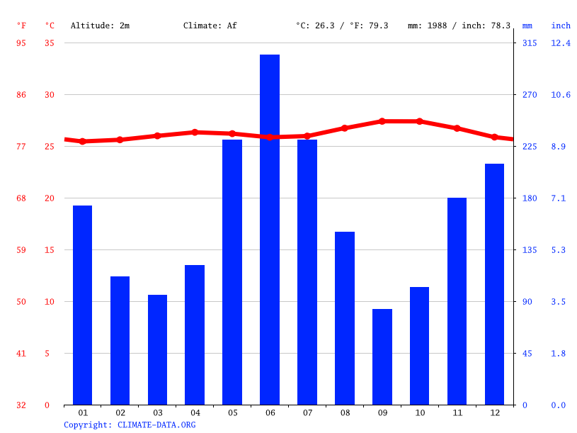 Climate graph // Weather by Month, Columbia