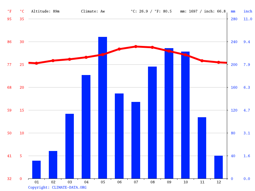Climate graph // Weather by Month, Delmas
