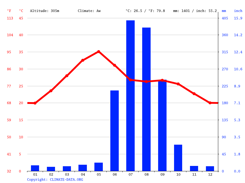 Climate graph // Weather by Month, Raipur