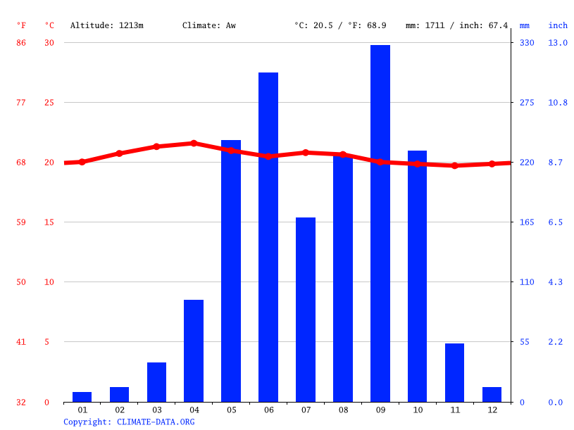 Climate graph // Weather by Month, Palín