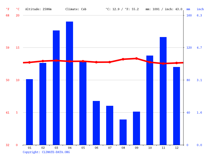Climate graph // Weather by Month, Bogota