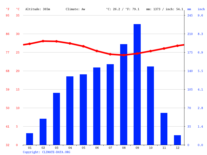 Climate graph // Weather by Month, Bouaké