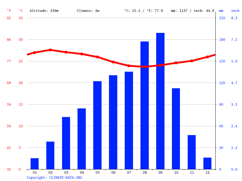 Climate graph // Weather by Month, Dampleu