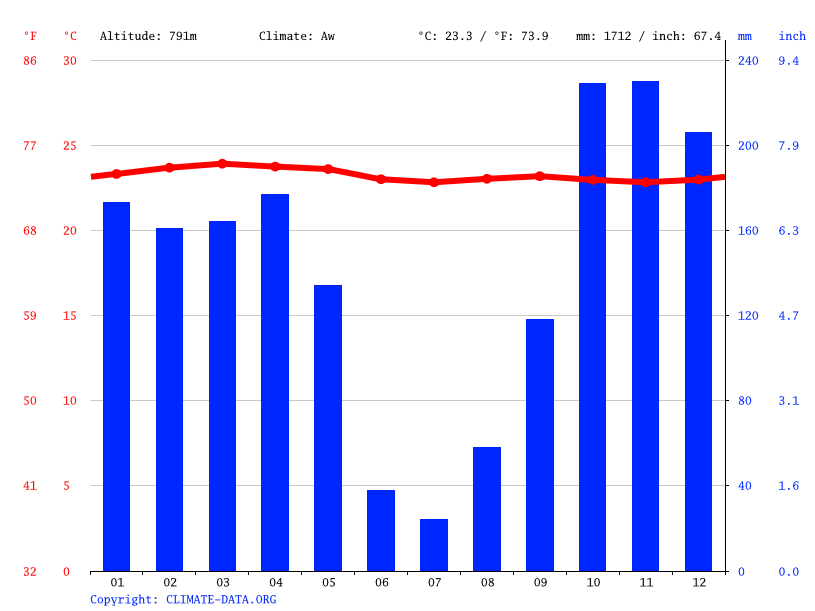 Climate graph // Weather by Month, Djambala
