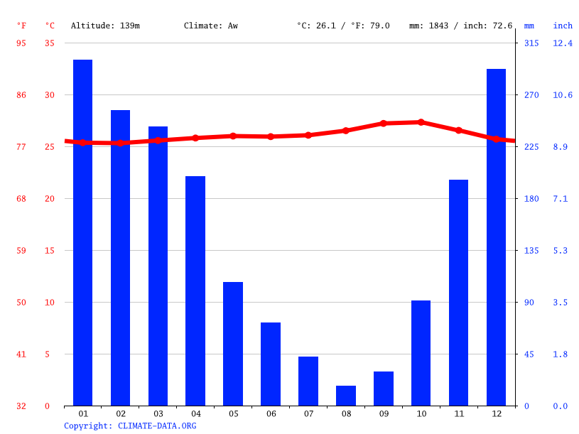 Climate graph // Weather by Month, Jinanten