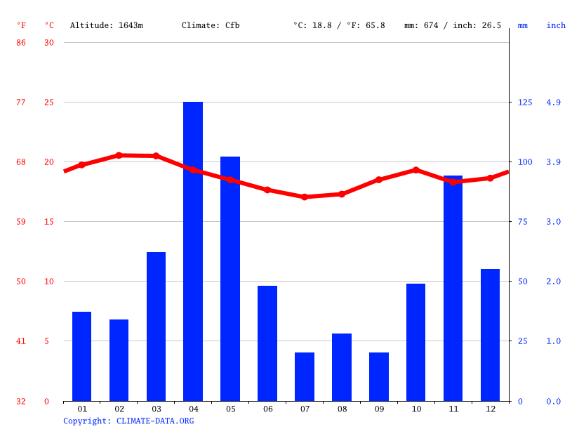 Climate graph // Weather by Month, Kisii Village