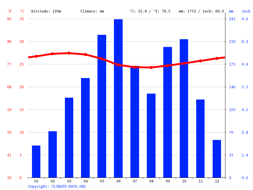 Climate graph // Weather by Month, Nyakrom