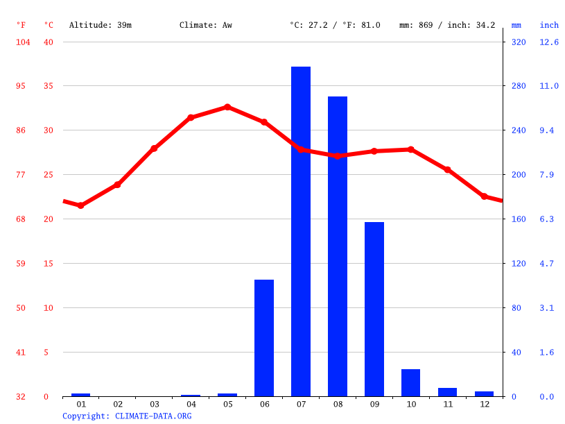 Climate graph // Weather by Month, Vadodara