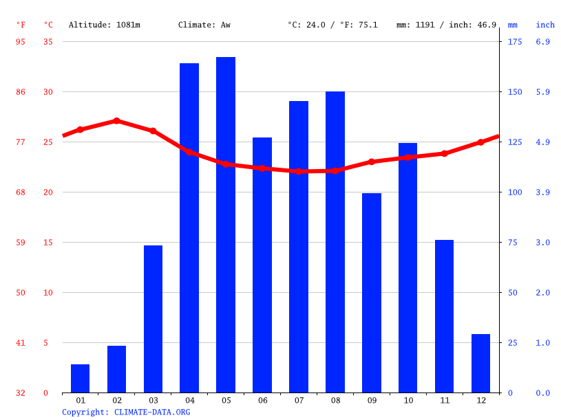 Climate graph // Weather by Month, India