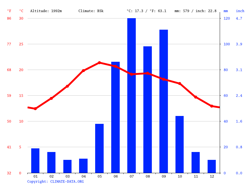 Climate graph // Weather by Month, Cosío